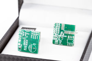 Circuit Board Cufflink French Shirt With Gift Box