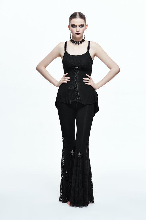Gothic Lace Up Bell Bottom Pants