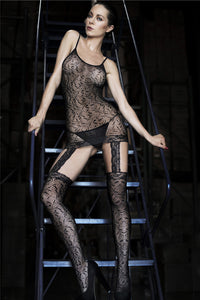 False Two piece Chemise Patterned Sexy Body Stocking