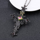 Gothic Cross Triangle Pentagram Necklace