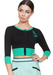 Jade Retro Kitty 3/4 Sleeve Crop Cardigan