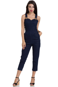 Connie Fitted Capri Overalls Denim Pants