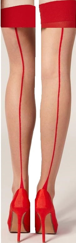 White and Red Back Ribbon Seam Thigh High Stockings