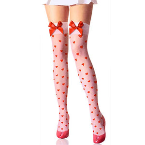 Opaque Heart Thigh High Stockings