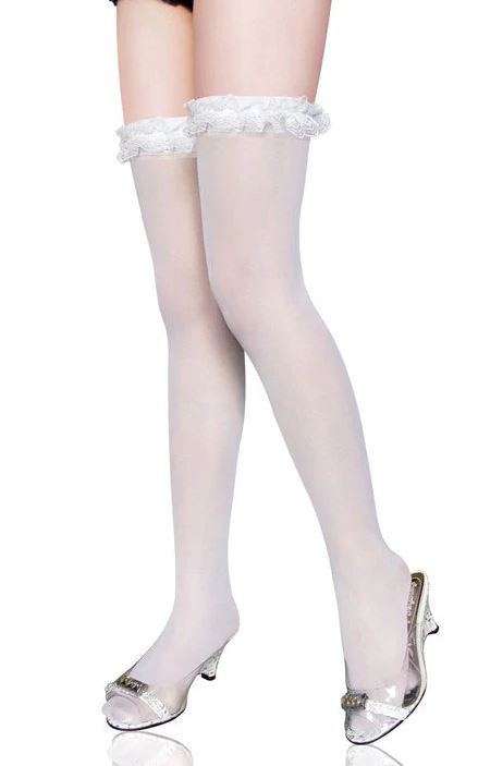 White Ruffle Lace Top Stocking