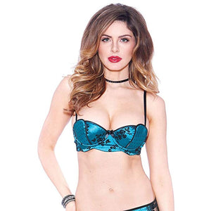 Bedroom Stories Net Overlay Bra Turquoise
