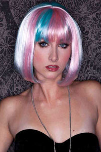 Light Pink And Blue Short Bob with Band White