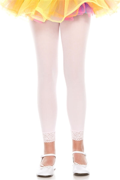 Opaque Pink Footless Tights with Lace Trim