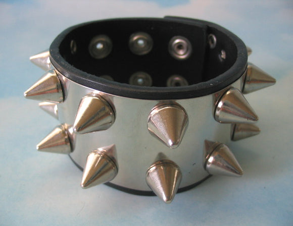 Stainless Steel & Leather Bracelet with 14 Cone Studs