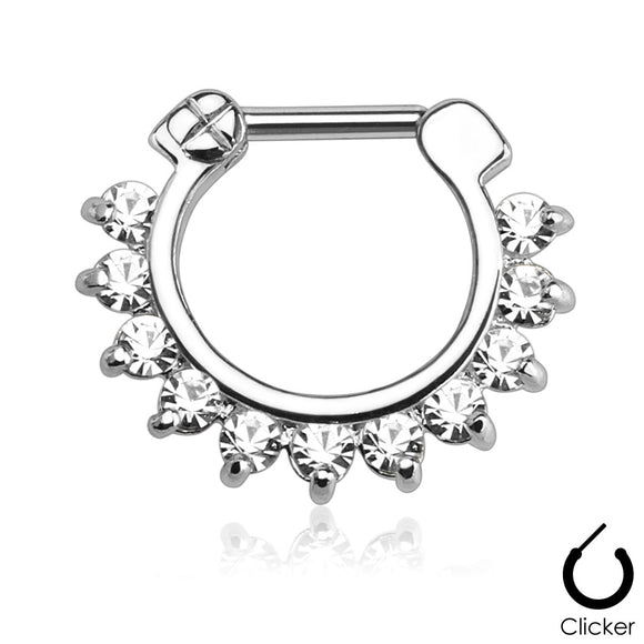 Single Line Pronged Gems 316l Surgical Steel Septum Clicker