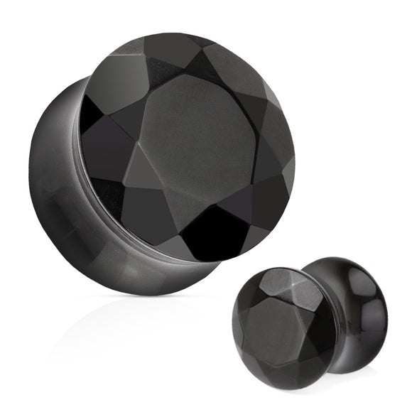 Black Agate Semi Precious Stone Faceted Gem Cut Double Flared Plug (Pair)