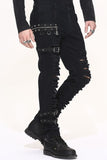 BLACK GOTHIC PUNK BUCKLE BELT MENS PANTS