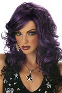 Purple Long Streaked Wig