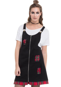 Ripped Tartan Insert Pnafore Dress