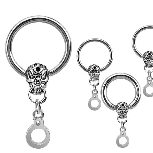 Skull and Handcuff Dangle Cbr Ring 316l Surgical Stainless Steel