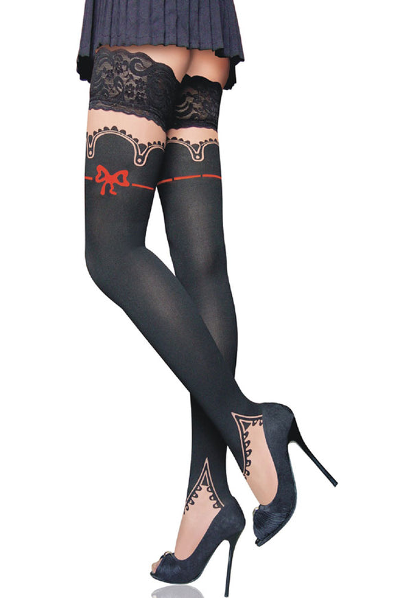 Red-Bow Stay-Up Thigh High Stockings