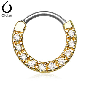 Cz Paved Round Top 316l Surgical Steel Septum Clicker Rings