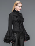 Gothic Ruffled Top With Trumpet Sleeves