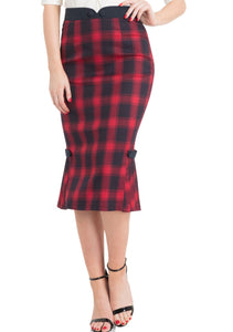Frenchie Pleated Hem Pencil Skirt