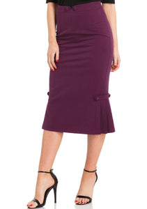 Violetta Pleated Hem Pencil Skirt-Purple