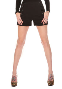 HIGH WAISTED STRETCH SHORTS WITH BUTTON