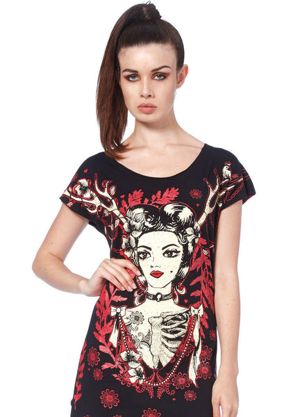 Black Queen on the Forest T - Shirt Dress