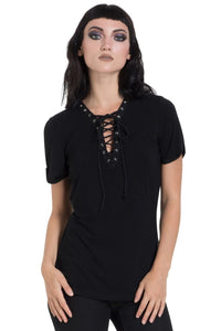 Ladies Laced Up Top Black