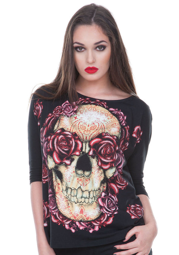 Ample Skull and Roses W Top