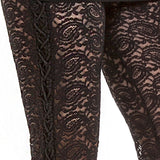 Side Lace Gothic Leggings Ladies Black