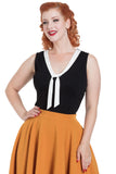 Nellie Top With Contrast Tie Accent