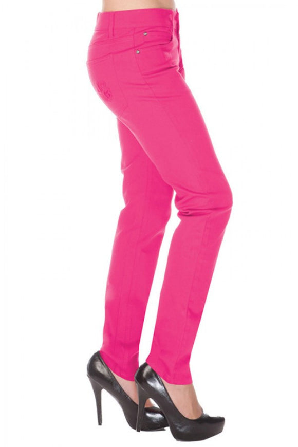 Skinny Stretch Pants Fuschia