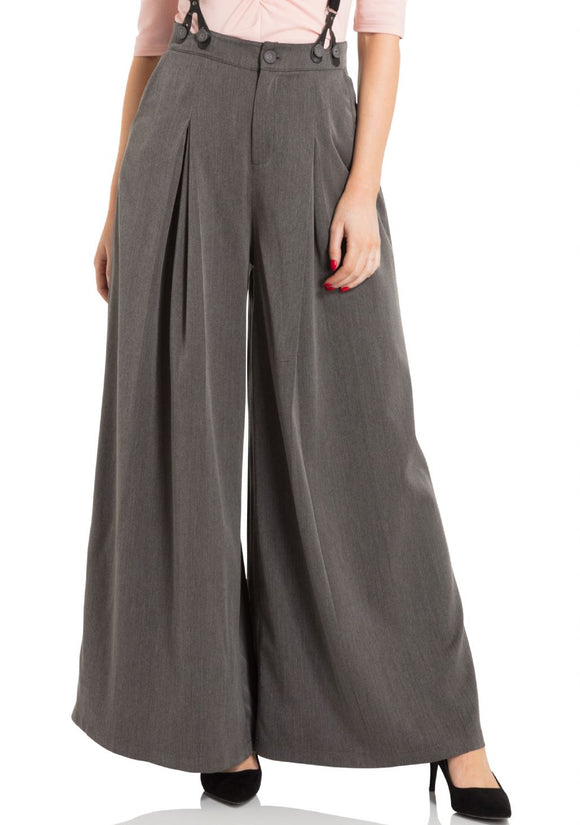 Khloe Grey Pants 40'S Style Trousers