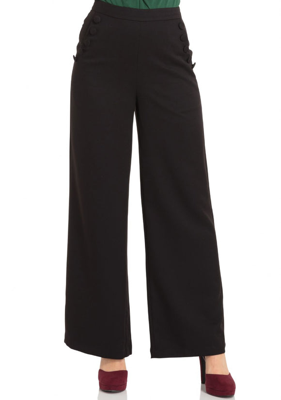 Roma Black 40'S Style Trousers