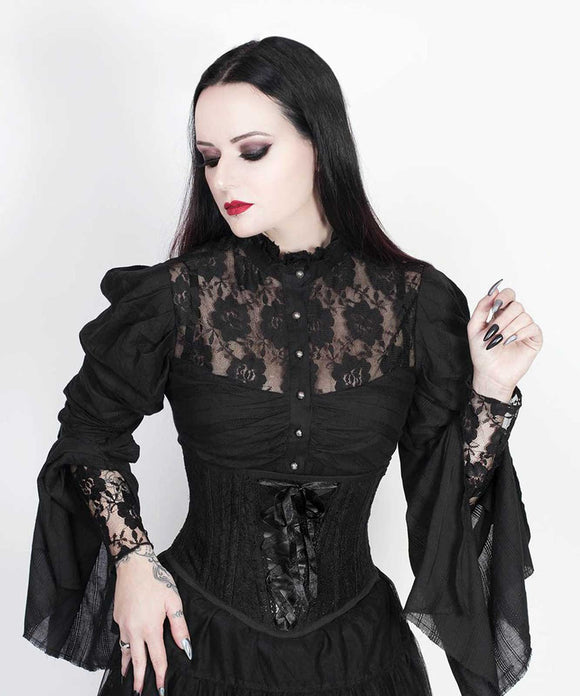 Gothic Long Sleaves Top With Lace