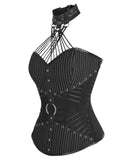 Pinstripe Overbust Corsets with Attached Neck Gear