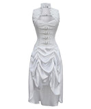 White Victorian Overbust Corset steel bone Dress