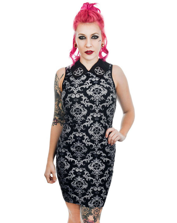 Baroque Victorian Gothic Pentagram Wednesday Addams Collar Dress