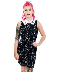Satanic Goat Head & Pentagram Wednesday Addams Collar Dress