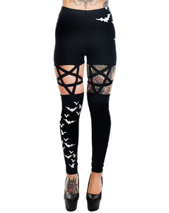 Flying Bats Pentagram High Waist Leggings
