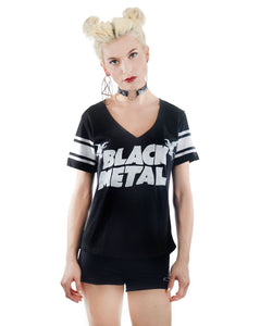Foul V Neck Varsity T-Shirt - Black Metal