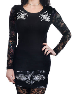 Night Creature Moon & Bats Kelly Lace Back Long Sleeve Top