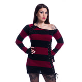 ALLEY GOTHIC LADIES SWEATERS BLACK/RED
