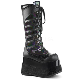 "Tiered Platform Lace-Up Knee High Boot 4 1/2"", Inside Zip"