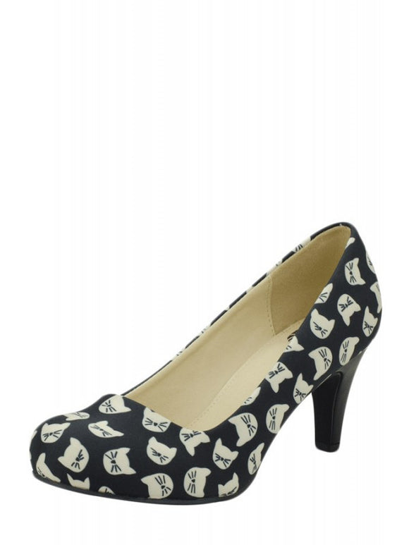 Black & Cream All Kitty Vegan Anti Pop Heels