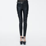 Women PU Leather Pants With Buckle On The Side