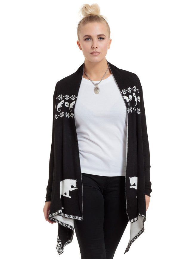 Baggy Cardigan With Cat & Skull