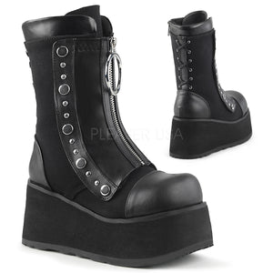 Platform Hidden Lace-Up Wedge Mid-Calf Boot 3 1/2""