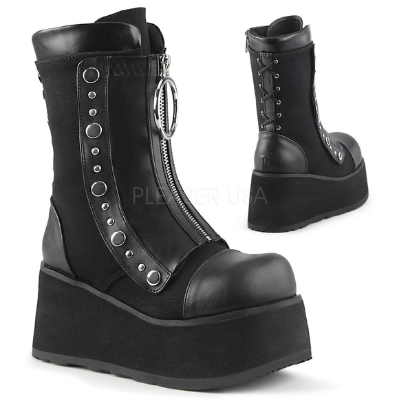 Platform Hidden Lace-Up Wedge Mid-Calf Boot 3 1/2