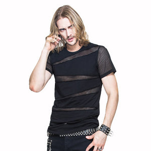 Gothic Men's Short Sleeve Top With Fishnet