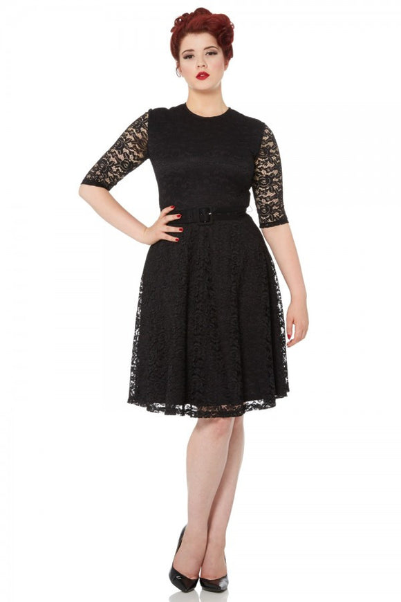 Marie Flared Black Lace Dress